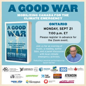 Lancement virtuel du livre A Good War: Mobilizing Canada for the Climate Emergency in Ontario